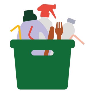 Illustration of tub of cleaning products