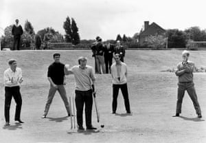 The England players enjoy a relaxing game of cricket at the Bank of England sports ground on the eve of World Cup final
