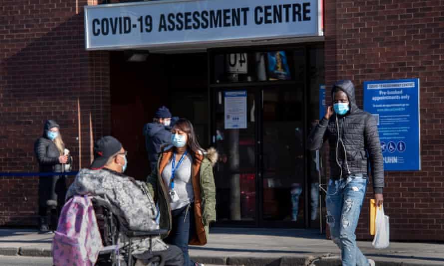 A Covid-19 centre in Toronto on Monday.