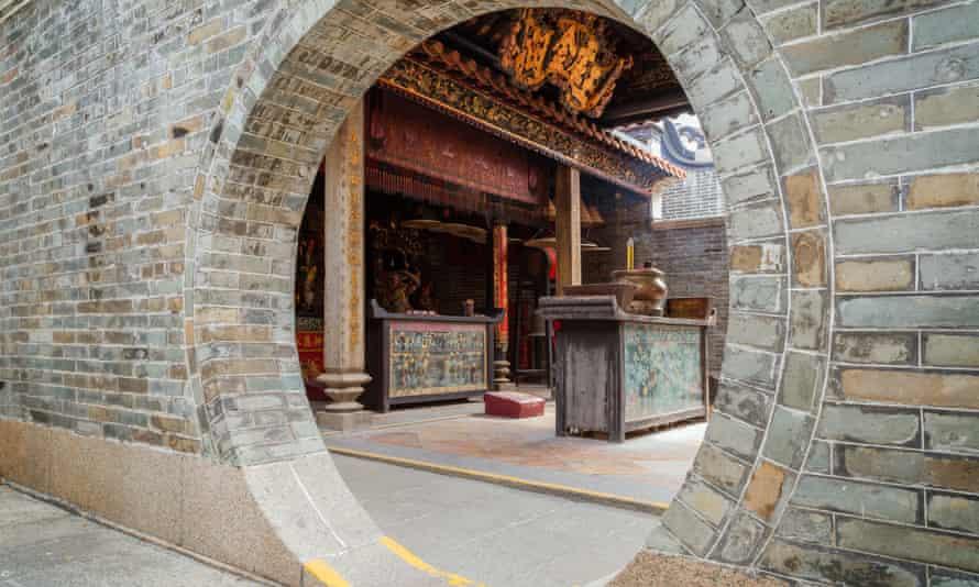 Round doorway at the Pak Tai Temple on Cheung Chau Island in Hong Kong, China.