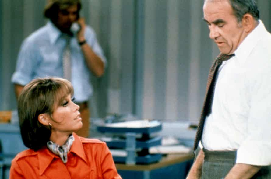 Ed Asner as Lou Grant, with Mary Tyler Moore, in The Mary Tyler Moore Show.