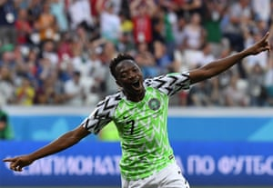 Nigeria's forward Ahmed Musa celebrates after scoring his second goal against Iceland, winning the game 2-0 at the Volgograd Arena.