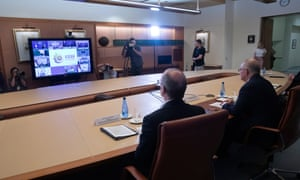 The Prime Minister Scott Morrison in the cabinet room of Parliament House in Canberra this afternoon for an ASEAN-Australia video meeting. Saturday 14th November 2020.