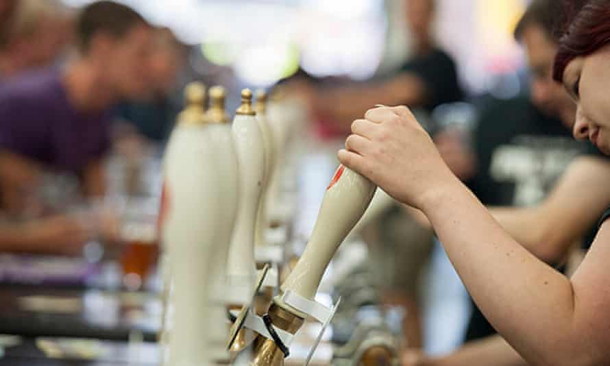 beer being served in pub