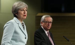 Theresa May and Jean-Claude Juncker at their press conference in Brussels announcing that negotiations could move on to the future EU-UK relationship.