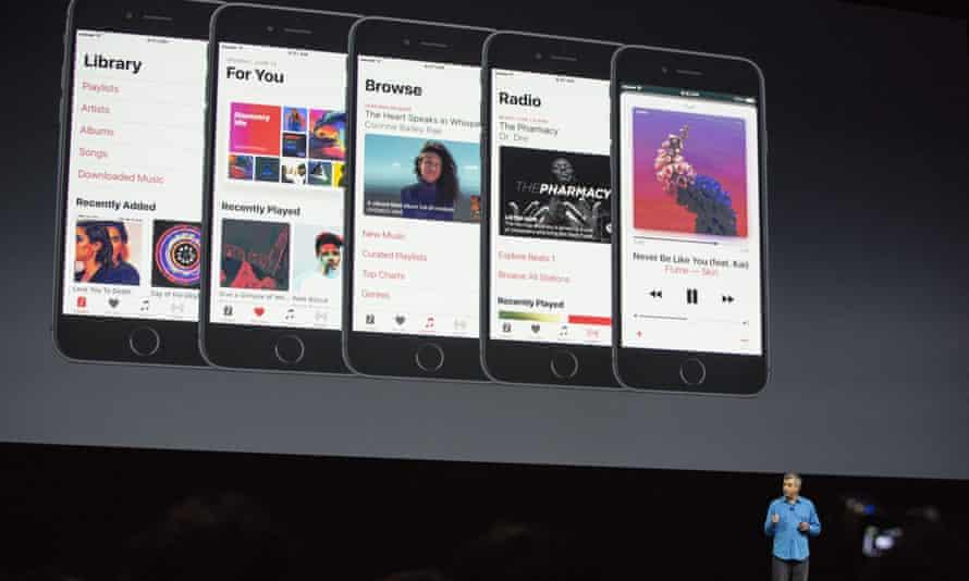 Eddy Cue walks the WWDC faithful through changes to Apple Music.