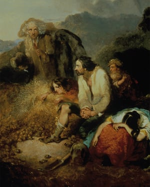 A detail from Daniel MacDonald's An Irish Peasant Discovering the Potato Blight of their Store (1847).