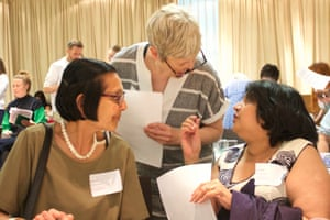 Delegates share examples of good practice during a networking session at the Guardian Education Centre Reading for pleasure conference 4 July 2019