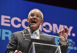 Scott Morrison speaks during the Liberal party campaign launch in Melbourne on Sunday.