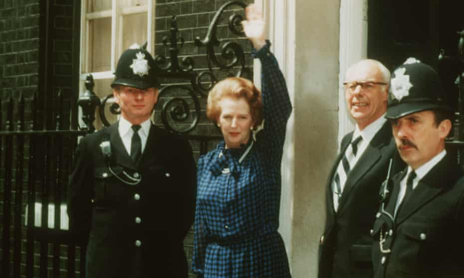 Margaret Thatcher with her husband Denis outside No 10 Downing Street after the Conservative party won the general election of 1983.