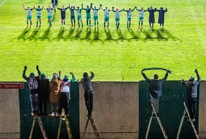 Single Sports 1st PrizeFootball players of the Bohemians 1905 Prague thank their fans after a match against FK Pribram