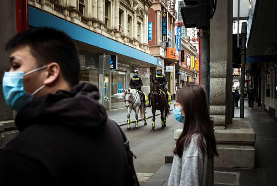 Chinatown. On Friday, the second full day of enforced stage four restrictions, the Melbourne CBD is almost totally devoid of people and is patrolled by police on horseback and members of the defence force.
