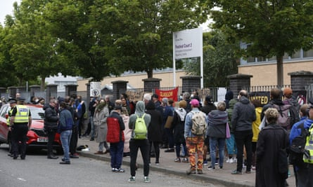 A protest against the treatment of asylum seekers and refugees outside the main Glasgow Home Office immigration enforcement reporting centre.