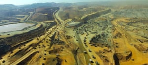 A landscape shot showing the enormity of the jade mines in Myanmar.