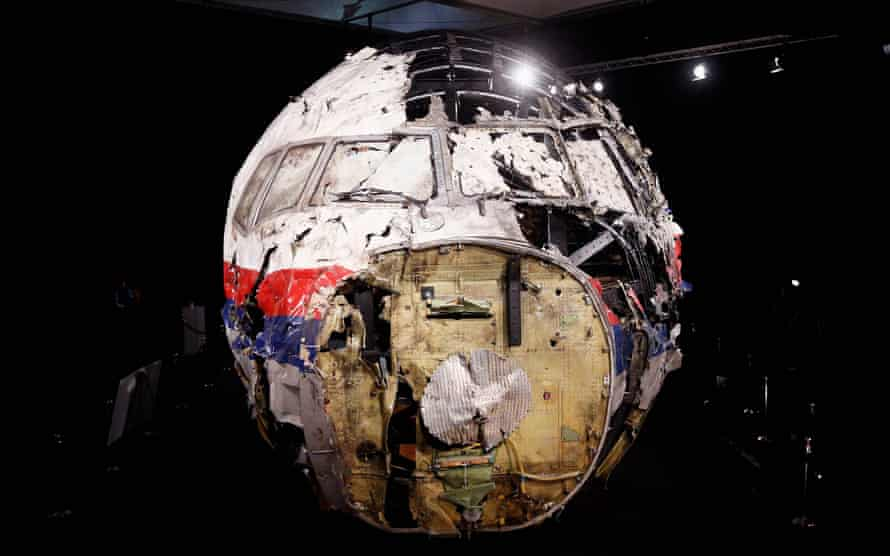 A general view of the MH17 cockpit wreckage at the Gilze-Rijen Military Base