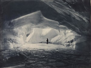 Cavern carved by the sea in an ice wall near Commonwealth BayHurley took part in a record-breaking sledging journey to the South Magnetic Pole.