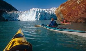 Sea Kayakers near S.Sawyer Glacier Tracy Arm SE AK Fords Terror Wilderness Area