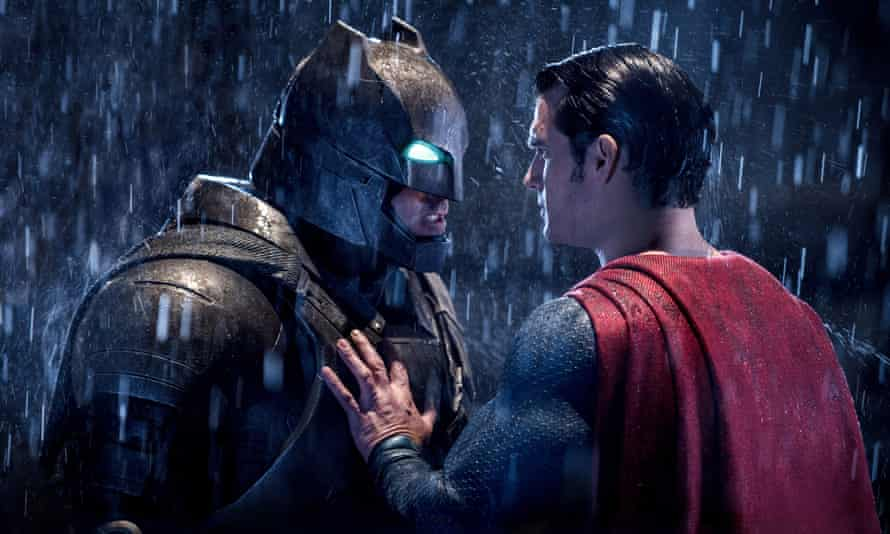 Son of Krypton tries to calm down Bat of Gotham about their Rotten Tomatoes score.