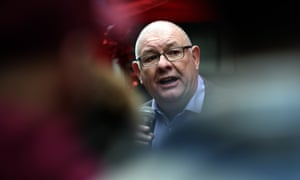 Dave Ward, the general secretary of the Communication Workers Union, addresses supporters during a protest outside the Department for Business in December.