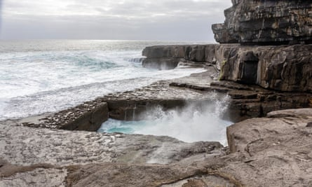 The Worm Hole, natural pool in Inishmore, Aran islands, Ireland.