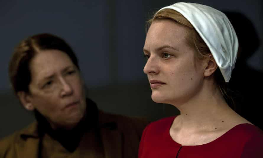 Elisabeth Moss in a scene from the second season of The Handmaid's Tale.
