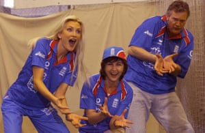 Caprice (left) leads the slip practice at Lord's with Lesley Garrett and Clive Mantle to promote the 1999 Cricket World Cup.