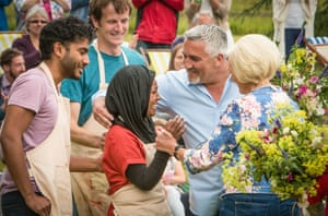 Nadiya Hussain, winner of The Great British Bake Off, is congratulated by contestants and judges.