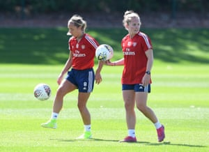 Arsenal's Jordan Nobbs (left) and Kim Little during a training session ahead of this weekend's fixture against West Ham United women.