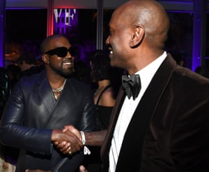 Kanye West and Tyrese Gibson at the Vanity Fair party.