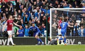Camarasa celebrates scoring Cardiff's second goal.