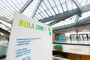 A meeting board at the Bonn UN climate change conference – Bula is a fijian word used in greeting