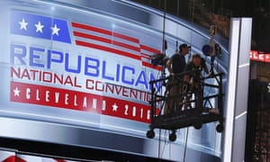 Workers prepare the main stage at the Quicken Loans Arena for the upcoming Republican National Convention.