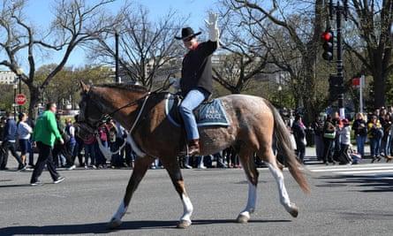 Ryan Zinke rides his horse Tonto in Washington.