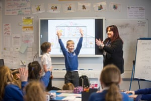 Italian teacher Stefania Cellini teaching in John Rankin junior school, Newbury