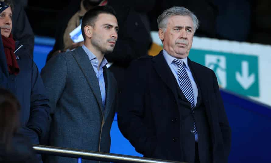 New Everton manager Carlo Ancelotti (right) watched Everton's draw with Arsenal from the stands.