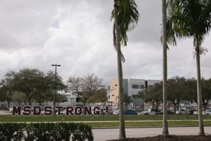 """The """"MSD Strong"""" slogan decorates a fence outside of Marjory Stoneman Douglas High School in Parkland, Florida."""