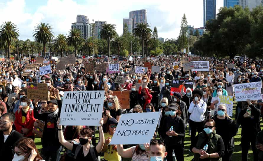 Protesters participate in a Black Lives Matter rally in Perth in June 2020.