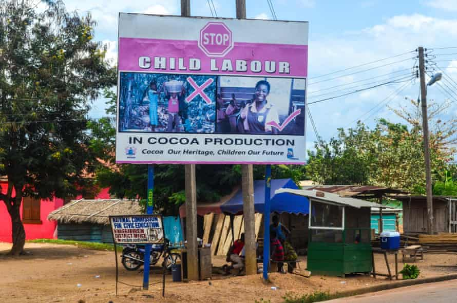 A sign warns against child labour
