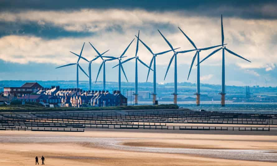Teesside wind farm towers over the town of Redcar.