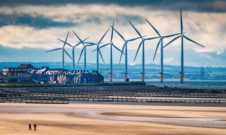 Teesside windfarm over the town of Redcar.