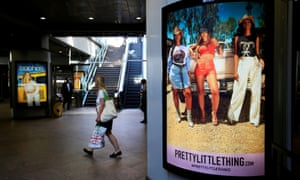 Advertising billboards for Boohoo and its PrettyLittleThing brand