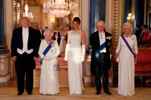 The Queen, President Trump, First Lady Melania Trump, Prince Charles and Camilla, Duchess of Cornwall photographed ahead of  the State Banquet