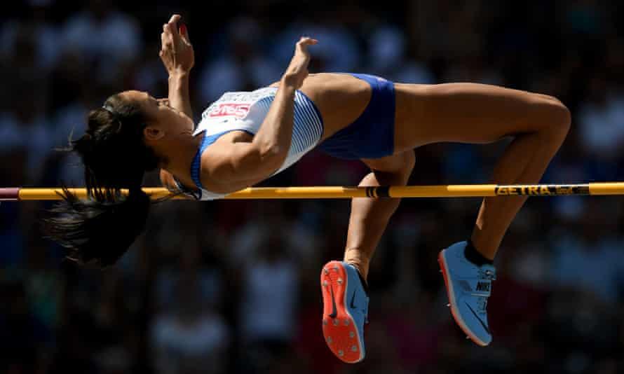 Katarina Johnson-Thompson competes in the heptathlon high jump at the European Championships in Berlin last year.