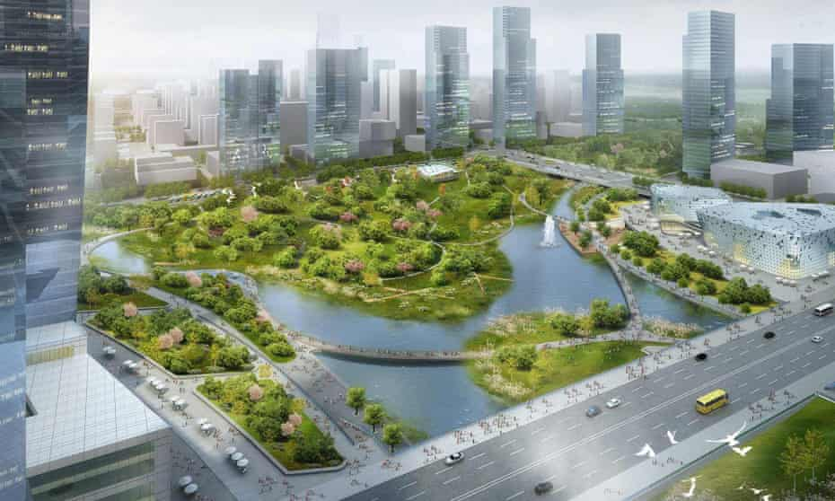 Wuhan, China is a 'sponge city' with features such as Xinyuexie Park, pictured, which is designed to flood during monsoon.