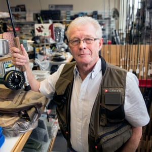 Howard Thresher at his fly fishing shop in Crediton.