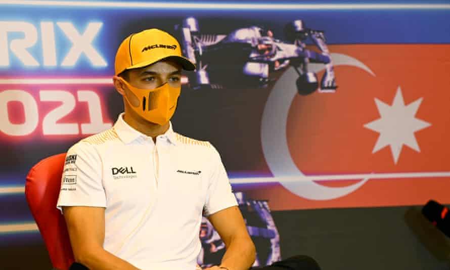 Lando Norris of McLaren attends a press conference in Baku, Azerbaijan.