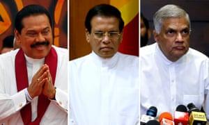 Mahinda Rajapaksa, Maithripala Sirisena and Ranil Wickremesinghe