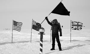 one of Santiago Sierra's workers throws down the anarchist gauntlet to nationalism in South Pole Documentation 2015.