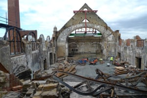 Aftermath … what the architects were faced with after a fire in 2015 razed BAC's grand hall.