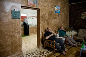 Jordanian men relax with a cigarette.